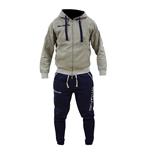 Perseo Sport Tuta Uomo Cotone Felpato Cappuccio Givova Modello LF21 (M, Grigio/Blu)