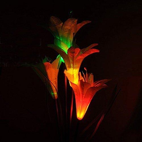 FRE Solarleuchten 4 Kopf Lilien Blumen LED Licht Lampen Garten Rasen Decor – Rot - 3