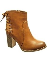Angkorly - Zapatillas de Moda Botines low boots mujer cordones Talón Tacón ancho alto 8 CM - plantilla Forrada de Piel - Camel