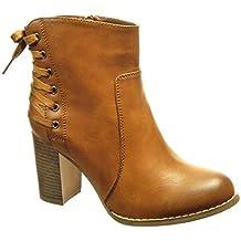 Angkorly - Zapatillas Moda Botines low boots mujer encaje Talón Tacón ancho alto 8 CM -