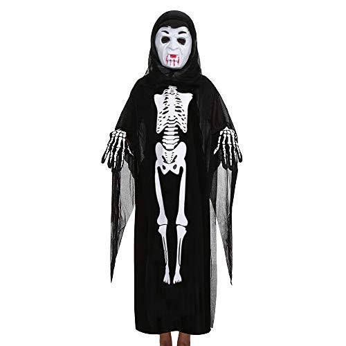 GJKK Kostüme für Kinder Halloween Cosplay Kostüm Schädel Skelett Geist Umhang Mantel + Horror Geist Maske + Handschuhe Halloween Kostüm Outfits Set für Halloween - Zombie Kostüm Nachthemd