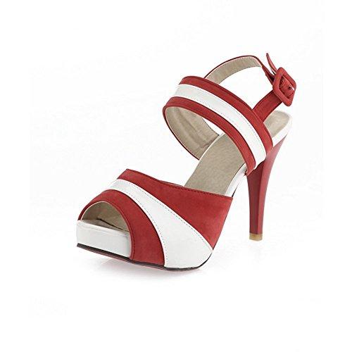 Adee Mesdames haut talons Sandales en cuir Couleurs assorties Rouge - Rouge bordeaux/blanc
