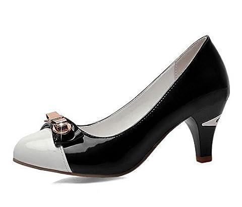 VogueZone009 Femme Rond Tire Pu Cuir Mosaïque à Talon Correct Chaussures Légeres, Noir, 39