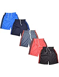 KRISHY CREATION Boys Sports Shorts 100% Polyester Collections (5 PCS Pack)