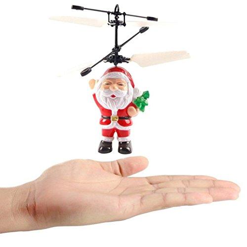 Upxiang Elektrischer Infrarotsensor Fliegender Ball, Weihnachtsmann-Hubschrauber, Weihnachten LED-helles Spielzeug, Vater-Weihnachtshubschrauber-Spielzeug (Santa Claus)