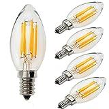 Yiun C35 E14 Candela lampadine LED 6W, 60W ad incandescenza lampadine equivalenti, 2700K bianco caldo, Dimmerabile, 600Lm, piccole vite Edison candela lampadine, 5 pacchi
