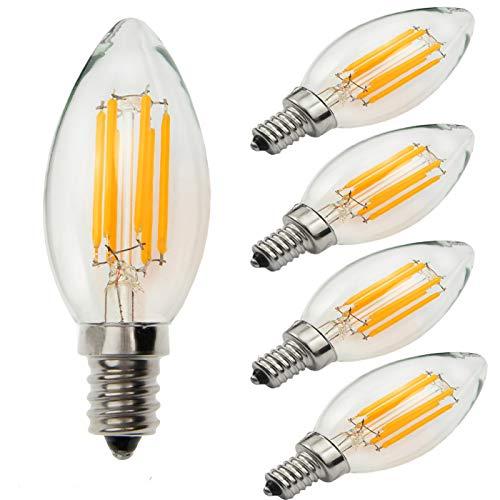 Yiun C35 E14 LED Kerzen Lampen 6W, 60W Glühbirnen gleichwertig, 2700K Warmweiß Kerzen E14 Glühbirnen, dimmbar, 600Lm, LED Glühbirne, kleine Edison Screw Candle Glühbirnen, Packung mit 5 -
