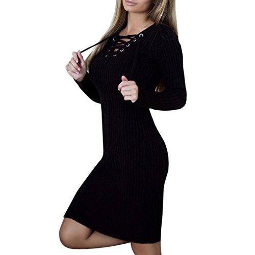 OVERDOSE Damen Langarm Bodycon Langes Kleid Bandage Slit Slim Dress V-Ausschnitt Stricken Kleid Ostern Partei-Kleid (Halloween-taschen Günstige)
