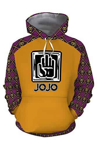 Cosplay Kujo Jotaro Kostüm - MingoTor Herren Damen Kujo Jotaro JoJo's Bizarre Adventure Kapuzenjacke 3D Pullover mit Kapuze Sweatjacke Hoodie Cosplay Kostüm Unisex