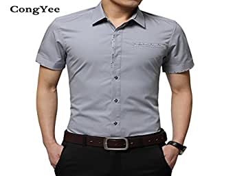 b0def0280f2 Image Unavailable. Image not available for. Colour  Donald Trump Summer  Short Sleeved 100% Cotton Pocket Decoration Dress Shirts ...