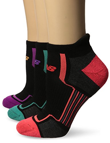 New Balance Damen Performance Low Cut Tab Socken (3 Pack), damen, Black/Pink/Orange/Teal (Socken Tab 3pk)