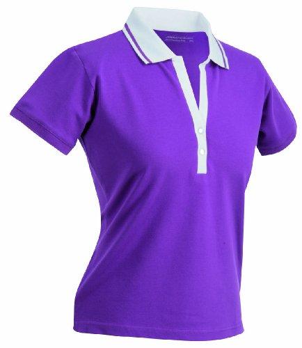 James & Nicholson Polo fonctionnel à manches courtes élastiques pour femme rouge - Violet/blanc
