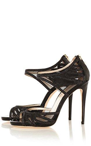 Karen-Millen-Black-Glitter-Peep-Toe-High-Heel-Sandals-Womens-UK-Size-7