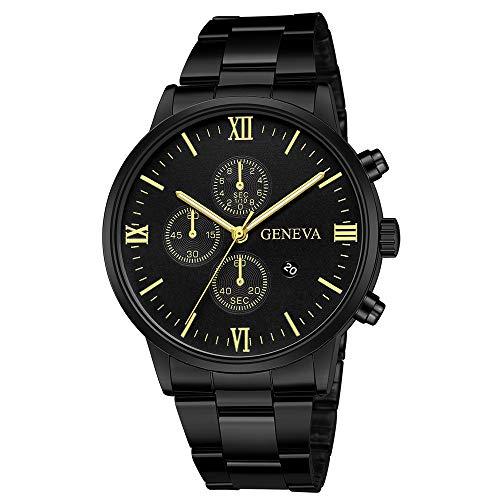 Darringls_Reloj 657 Geneva,Reloj de Acero Inoxidable Negro Clásico de Lujo Calendario de Moda Clásico...