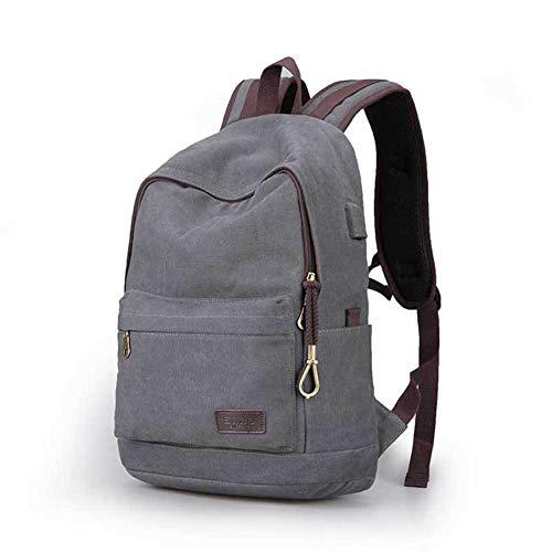 GJF Unisex Vintage Canvas Rucksack, Schulrucksack Bookbag College Casual Daypack mit USB-Ladeanschluss, für 15,6-Zoll-Laptop-Tasche, College Ourdoor Travel Camping Wandern-lightgray