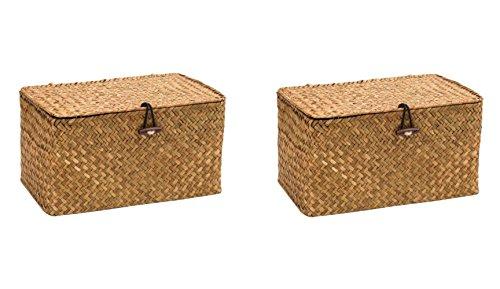 WOOD MEETS COLOR Aufbewahrungsbox Aufbewahrungskiste Dekobox Kosmetik Aufbewahrung mit Deckel Aufbewahrungskörbe aus Natürliche Seagras Praktische ca. 24 × 14 × 13cm (Original x2) -