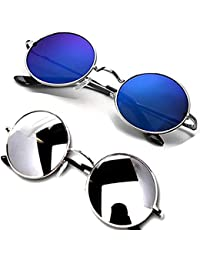 b6e9e27a0b Y S Unisex UV protected Square Men s Womens Boys and Girls Sunglasses Combo  Round Blue Mercury And