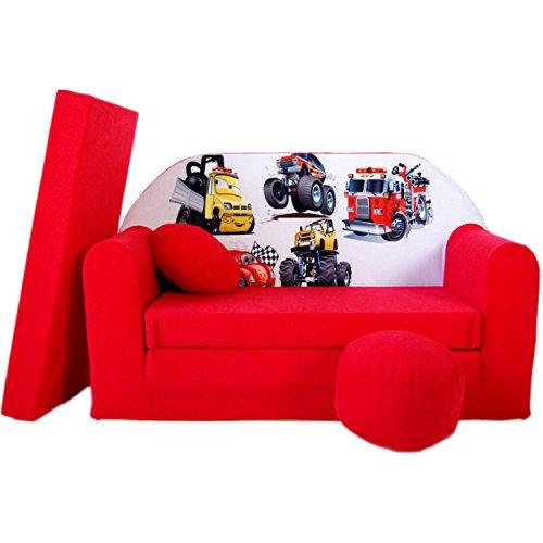 WELOX M00000627 kindersofa, Stoff, rot, 50 x 100 x 60 cm