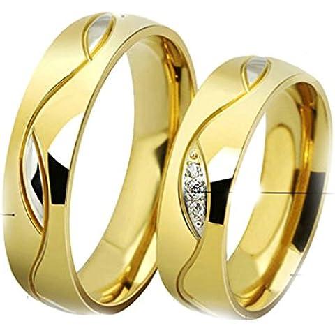 Daesar Joyería Anillo Compromiso Acero de Mujer Hombre, Oro Dorado Blanca Circonita Plata Embutido para Boda Joyas