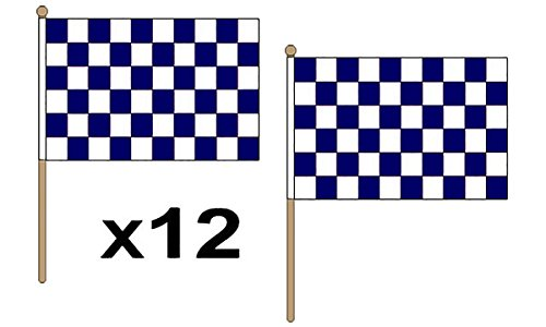 GIZZY 12Stück navy blau/weiß karierten 68,6x 45,7cm Große Hand Waving Flaggen, mit Holz Stick und Krone