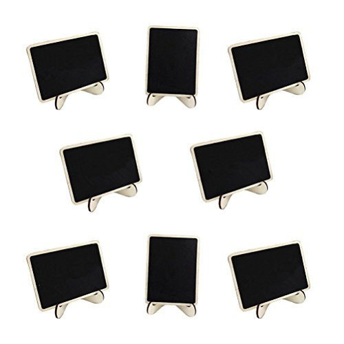 oulii 100Mini Rechteck Kreidetafeln mit Unterstützung für Nachricht Board Schilder Hochzeits-Tischkarte, Partyzubehör