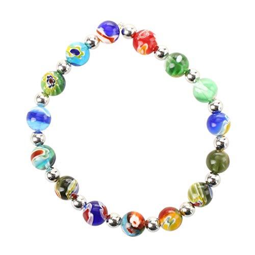 SODIAL (R) Multifarbe Millefiori Murano Glas Armband Mode