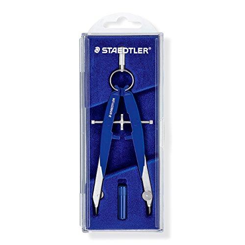 Staedtler Zirkel Mars Comfort, Geometrie-Zirkel, hohe Qualität Made in Germany, mit Spindelführung (Mitteltriebspindel), exakt und präzise, blau-silber, stabiles Etui mit Klappdeckel, 556 00