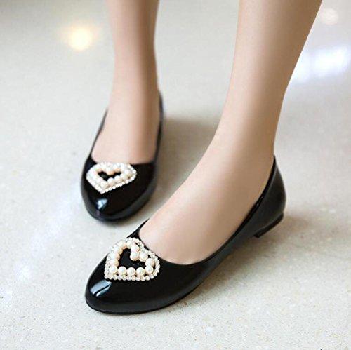 Decorazione perla artificiale di mocassini di OL della piattaforma di modo della mandorla Sandali semplici casuali UE misura su misura 31-47 Black
