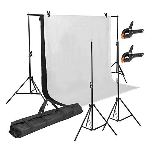 MVPOWER Profi Studio Hintergrundsystem Fotostudio Teleskop Fotoständer Kit inkl. Hintergrund Stoff weiß, schwarz(nonwoven) + Tragtasche ((2X3M Stativ mit 1.6*2M Stoff A))