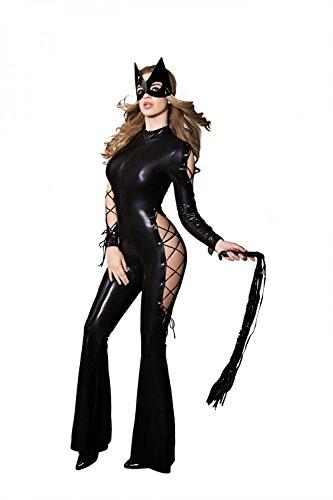 Damen 3 Teilig Wetlook Catwoman Outfit Overall Catsuit Dessous Set Baby Dolls Katze Damen Kostüm Reizwäsche Lingerie Nachtwäsche Cosplay Club Wear mit (Outfit Catwoman)