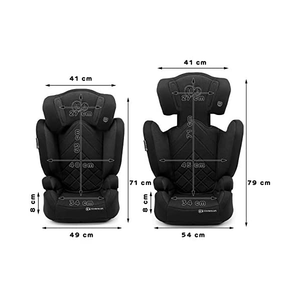 Kinderkraft Car Seat XPAND Child's Booster Seat with System ISOFIX Adjustable Headrest Side Protection Group II/III (15-36kg) to 12 Years Crashtested Safety Certificate Intertek and ECE R44/04 Black KinderKraft Car Seat - The Xpand car seat ensures safety during every journey. Secure - Equipped with fixing system ISOFIX, which guarantees a stable and safe position for your child. Alternatively, secure with car seat belts. Comfort - The wide, deep seat provides comfort even during long hours of travel and the headrest adjustment allows parents to adjust the seat to each child. 6