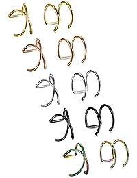 df0254c14205 BESTEEL 10Piezas Clips de Oreja Pendientes de Acero Inoxidable Cruz X Ear Cuff  Pendientes sin Perforación