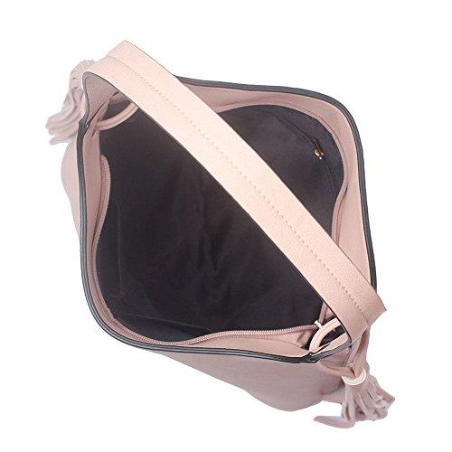 Haute For Diva New Nappe Laterali Dettaglio Ecopelle Borsetta Da Donna A Tracolla - Nero, Grande Rosa Chiaro