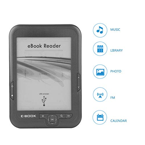 Topiky Ebook Reader, E-Reader da 6 Pollici 4G Stroage con Musica/Libreria/Foto/FM/Fuctions Calendario, Supporto libreria Portatile 29 Lingue