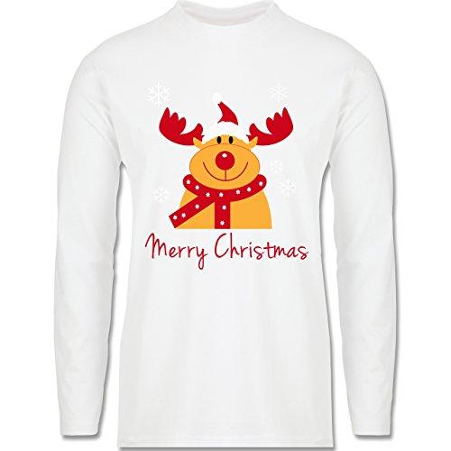 Weihnachten & Silvester - Merry Christmas Rentier - Longsleeve / langärmeliges T-Shirt für Herren Weiß