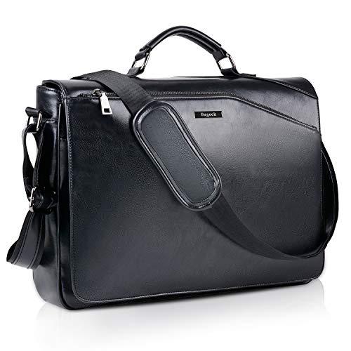Bageek borsa porta computer 15.6 pollici cartella del computer borsa tracolla uomo borsa pc in pelle sintetica borse messenger nero