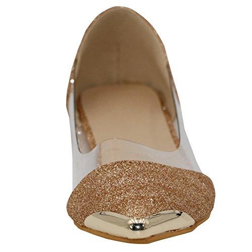 AalarDom Damen Ohne Absatz Pu Leder Weiches Material Ziehen Auf Spitz Zehe Flache Schuhe Golden