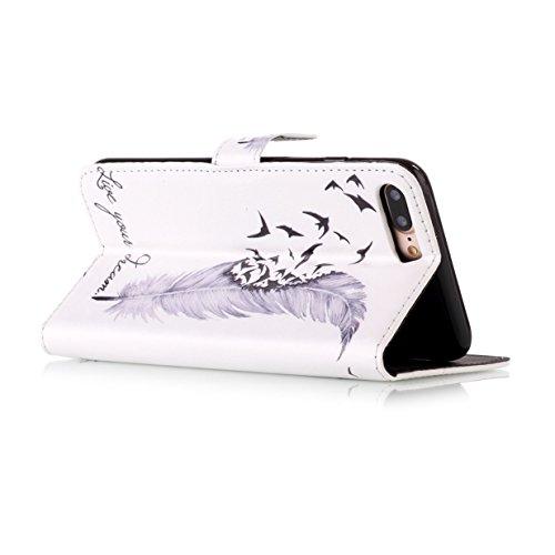 WYSTORE Apple iphone 7plus coque , PU cuir flip housse Étui Cover Case Wallet Stand avec Carte de Crédit Fentes pour ,Protection Anti Rayure Anti Choc Résistante Fashion - AMOUR plume