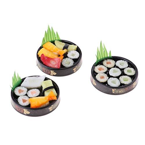non-brand 1/6 Miniaturas de Casa de Muñecas Sushi de Comida Japonesa Viva de Plato Redondo - 3pcs A+B+C