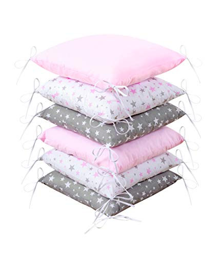 Amilian® Baby Nestchen Bettumrandung 210 cm Bettnestchen Kantenschutz Kopfschutz für Babybett Bettausstattung (Design48)