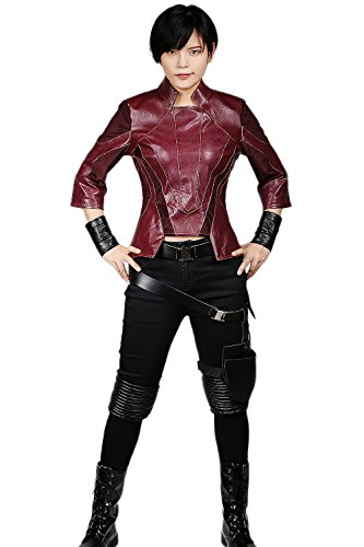 Halloween Kostüm Gamora (Halloween Kostüm Cosplay Damen Erwachsene PU Leder Jacke und Baumwollhose Deluxe Outfit Anzug mit)