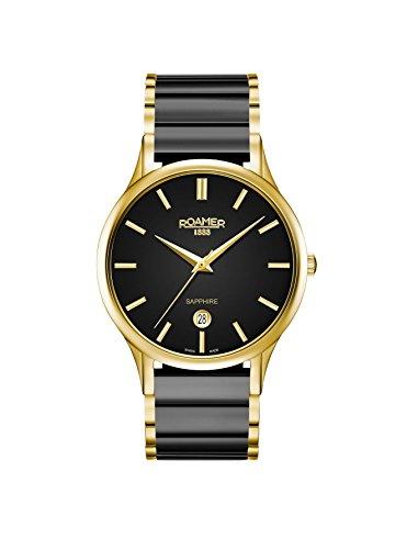 Roamer Herren Datum klassisch Quarz Uhr mit Keramik Armband 657833 48 55 60