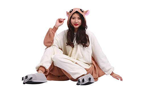 YUWELL Onesie Kigurumi Pajamas Unisex Cartoon Animal Cosplay Pyjamas Sleepsuit Costume, Fliegende Ratte XL (Frauen Ratte Kostüm)