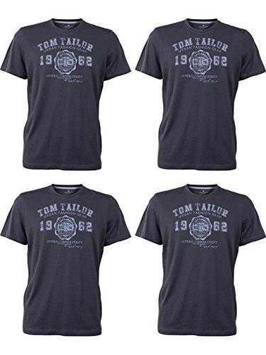 TOM TAILOR Herren Rundhals T-Shirt Logo Tee Basic Verschiedene Farben und Farbvarianten 4er Pack, Größe:XL, Farbe:4X Tarmac Grey (2983)