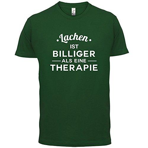Lachen ist billiger als eine Therapie - Herren T-Shirt - 13 Farben Flaschengrün