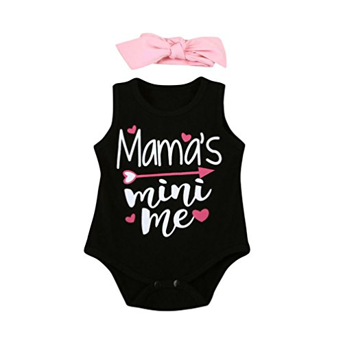 "HUIHUI Baby Overall, Neugeborenes Kurzarm ""Mama's mini me"" Overall Outfits Baby Jumpsuit Baumwolle Kinderkleidung + 1PC Headbands (70 (0-3M), Schwarz)"