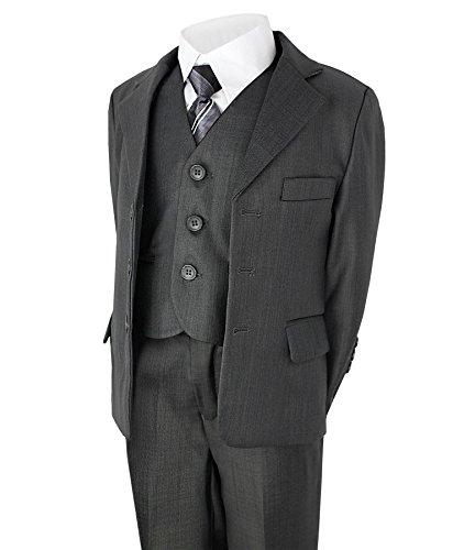 Jungen 5 Stück Anzug Hochzeit Party Jacke Hose Hemd Weste Krawatte - grau, EU 104-110