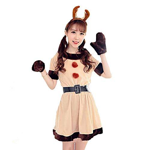 Santa Anzug Erwachsene Cosplay Sexy Anime Show Kostüm Kleines Kleid Uniformen Rot Zubehör Kostüm Outfits Für Weihnachten/Karneval Halloween Kostüme,Apricot,OneSize (Billig Sexy Santa Kostüm)