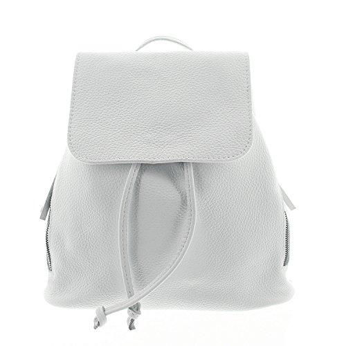 IO.IO.MIO Ital. Rucksack für Damen echt Leder Leichter Tagesrucksack Daypack Frauen Lederrucksack Damenrucksack Weiss