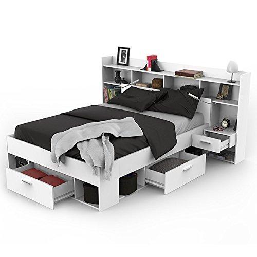Funktionsbett inkl Regalwand + Beleuchtung + 3 Bettschubkästen weiß 140*200 cm Kinderbett Jugendbett Jugendliege Bettliege Schlafzimmerbett thumbnail